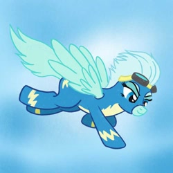 Size: 750x750 | Tagged: safe, artist:atomisk, oc, oc:windy breeze, pegasus, pony, clothes, flying, goggles, photo, solo, uniform, wonderbolts, wonderbolts uniform