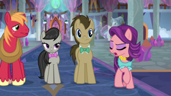 Size: 1920x1080 | Tagged: safe, screencap, big macintosh, doctor whooves, octavia melody, spoiled rich, time turner, earth pony, pony, a horse shoe-in, female, male, mare, school of friendship, stallion