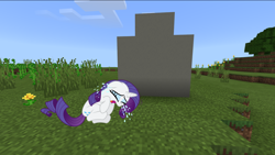 Size: 1360x766 | Tagged: safe, rarity, crying, grave, minecraft, rest in peace