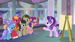 Size: 1920x1080 | Tagged: safe, screencap, big macintosh, doctor whooves, octavia melody, spoiled rich, starlight glimmer, time turner, trixie, a horse shoe-in