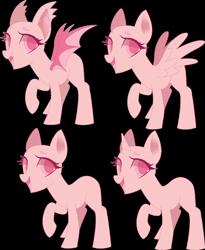 Size: 2216x2706   Tagged: safe, artist:sorasku, oc, oc only, bat pony, earth pony, pegasus, pony, unicorn, bald, base, bat pony oc, bat wings, earth pony oc, horn, open mouth, pegasus oc, raised hoof, simple background, transparent background, unicorn oc, wings
