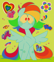 Size: 989x1132 | Tagged: safe, artist:hyperfixatins, artist:pillsburries, pinkie pie, pinkie pie (g3), rainbow dash, rainbow dash (g3), sweetberry, pegasus, pony, flower, g3, green background, heart, love, rainbow, shooting star, simple background, solo, sticker