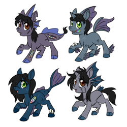 Size: 750x750 | Tagged: safe, artist:jitterbugjive, oc, oc only, half-siren, hybrid, pony, undead, zombie, zombie pony, bone, cloven hooves, colored hooves, colt, female, filly, fins, foal, hair over one eye, happy, horn, magical gay spawn, male, offspring, open mouth, scales, scar, simple background, stitches, torn ear, white background