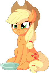 Size: 5448x8085 | Tagged: safe, artist:cyanlightning, applejack, earth pony, pony, .svg available, absurd resolution, applejack's hat, behaving like a dog, cowboy hat, female, hat, mare, simple background, sitting, solo, transparent background, vector