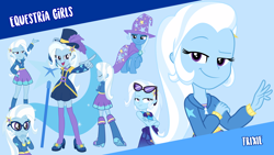 Size: 1920x1080 | Tagged: safe, trixie, pony, unicorn, equestria girls, equestria girls (movie), bikini, boots, clothes, cute, cutie mark, dress, female, glasses, magic, mare, open mouth, shoes, skirt, socks, swimsuit, vector, wallpaper