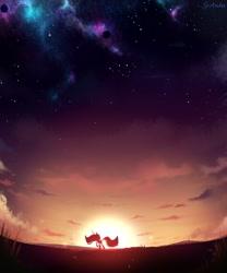 Size: 2500x3000 | Tagged: safe, artist:spoosha, twilight sparkle, alicorn, pony, the last problem, cloud, night, night sky, princess twilight 2.0, silhouette, sky, solo, stars, sun, twilight (astronomy), twilight sparkle (alicorn)