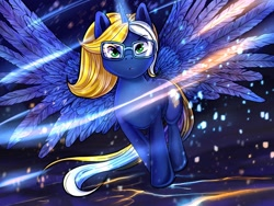 Size: 1920x1440 | Tagged: safe, artist:iimd, oc, oc only, oc:time vortex (th3bluerose), alicorn, pony, alicorn oc, blue fire, commission, epic, female, fire, frown, glasses, glowing horn, horn, inferno, majestic, mare, solo, spread wings, wing spreading, wings, ych result