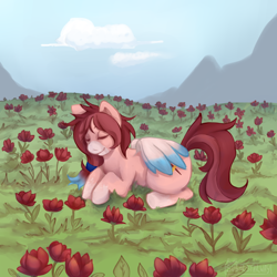 Size: 2000x2000 | Tagged: safe, artist:rei, artist:sugarstarway, oc, oc only, oc:rose scribbles, pegasus, commission, eyes closed, flower, flower field, ponytail, rose, socks (coat marking), two toned mane, two toned wings, wings, ych result