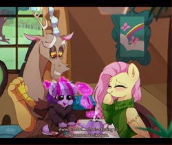 Size: 1250x1050 | Tagged: safe, artist:riukime, discord, fluttershy, oc, oc:jinx, draconequus, hybrid, pegasus, auntie fluttershy, blushing, clothes, cottage, eyes closed, father and child, father and daughter, female, fluttershy's cottage, food, glowing horn, horn, interspecies offspring, levitation, magic, male, offspring, parent:discord, parent:twilight sparkle, parents:discolight, subtitles, sweater, tea, tea party, teapot, telekinesis, turtleneck