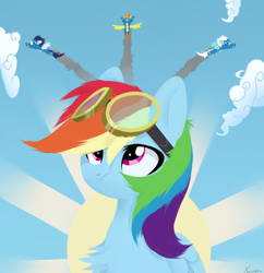 Size: 960x990 | Tagged: safe, artist:shiny, fleetfoot, rainbow dash, soarin', spitfire, pegasus, pony, bust, chest fluff, clothes, cloud, female, female focus, flying, folded wings, goggles, lineless, male, mare, sky, solo focus, stallion, uniform, wings, wonderbolts, wonderbolts uniform