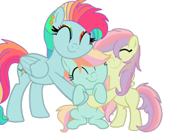 Size: 1000x774 | Tagged: safe, artist:circuspaparazzi5678, oc, oc:rainboom, oc:rainbow blitz, oc:rainbow splash, pegasus, pony, base used, cute, ear piercing, earring, eyes closed, female, filly, group hug, hug, hugging a pony, jewelry, magical lesbian spawn, mare, multicolored hair, offspring, parent:fluttershy, parent:rainbow dash, parents:flutterdash, piercing, rainbow hair, rainbow makeup, siblings, simple background, sisterly love, sisters, transparent background