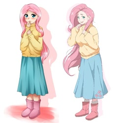 Size: 1077x1077 | Tagged: safe, artist:tomoe-chi, fluttershy, human, boots, clothes, comparison, cutie mark, cutie mark on clothes, humanized, redraw, shoes, skirt, sweater, sweatershy