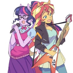 Size: 1080x1080 | Tagged: safe, artist:tomoe-chi, sci-twi, sunset shimmer, twilight sparkle, eqg summertime shorts, equestria girls, get the show on the road, duo, duo female, electric guitar, eyes closed, female, flying v, gibson flying v, guitar, microphone, musical instrument, open mouth, ponied up, scene interpretation, simple background, white background