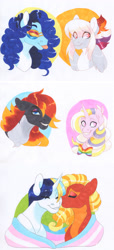 Size: 2550x5568 | Tagged: safe, artist:frozensoulpony, oc, oc only, oc:allegory, oc:arkansas black, oc:sundance tinker, oc:sweet bailey, oc:systole, oc:wildberry jams, pony, female, magical lesbian spawn, male, mare, offspring, parent:applejack, parent:big macintosh, parent:coloratura, parent:comet tail, parent:jet set, parent:party favor, parent:pinkie pie, parent:rainbow dash, parent:rarity, parent:raven, parent:thunderlane, parent:twilight sparkle, parents:applejet, parents:cometlight, parents:partypie, parents:raramac, parents:thunderdash, pride flag, stallion, traditional art