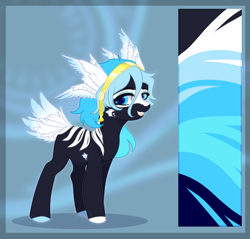 Size: 2092x2000 | Tagged: safe, artist:kawipie, oc, oc only, unnamed oc, original species, body markings, colored hooves, colored pupils, eyeshadow, fangs, female, hairband, looking at you, makeup, open mouth, reference sheet, signature, smiling, solo, tail feathers, wing ears