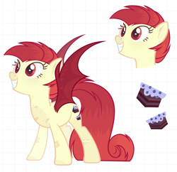Size: 1904x1842 | Tagged: safe, artist:blacky_witch, oc, oc only, unnamed oc, bat pony, bat pony oc, bat wings, ear piercing, female, grin, nose piercing, piercing, smiling, solo, spread wings, wings