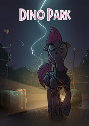 Size: 1024x1448 | Tagged: safe, artist:jodthecod, tempest shadow, pony, unicorn, car, fanfic, fanfic art, fanfic cover, female, jurassic park, lightning, mare, one hoof raised, solo