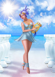 Size: 636x900 | Tagged: safe, artist:ladykraken, minuette, human, barefoot, clothes, dress, feet, humanized, lyre, musical instrument, solo