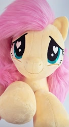 Size: 1080x1992 | Tagged: safe, artist:meplushyou, fluttershy, pegasus, pony, blushing, cute, heart eyes, hnnng, irl, photo, plushie, shyabetes, smiling, solo, weapons-grade cute, wingding eyes
