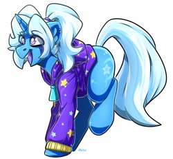 Size: 1865x1723 | Tagged: safe, artist:lrusu, trixie, pony, unicorn, alternate hairstyle, babysitter trixie, clothes, ear piercing, female, gameloft, gameloft interpretation, hair tie, hoodie, jacket, mare, open mouth, piercing, pigtails, ponytail, simple background, smiling, solo, twintails, white background