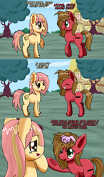 Size: 1280x2164   Tagged: safe, artist:clouddg, oc, oc:melony, oc:pun, oc:wit, earth pony, hare, pony, ask pun, ask, female, mare, messy mane