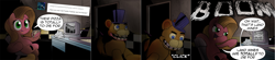 Size: 3620x800 | Tagged: safe, artist:wadusher0, oc, oc:pun, earth pony, pony, ask pun, ask, comic, crossover, five nights at freddy's, food, freddy fazbear, pizza, television