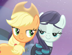 Size: 1155x877   Tagged: safe, edit, edited screencap, screencap, applejack, coloratura, the mane attraction, blushing, cropped, implied rarajack, looking at each other, rara