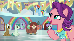 Size: 1920x1080 | Tagged: safe, screencap, rainbow dash, spoiled rich, starlight glimmer, yona, earth pony, pegasus, pony, unicorn, yak, a horse shoe-in, bow, clipboard, cloven hooves, female, flying, glowing horn, hair bow, horn, jewelry, magic, male, mare, monkey swings, necklace, stallion, telekinesis