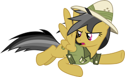 Size: 4901x3000 | Tagged: safe, artist:cloudyglow, daring do, pegasus, pony, daring doubt, absurd resolution, clothes, female, flying, looking back, mare, open mouth, simple background, solo, transparent background, vector
