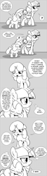 Size: 960x3600 | Tagged: safe, artist:mamatwilightsparkle, spike, twilight sparkle, oc, oc:lilian, dragon, pony, unicorn, baby, baby spike, blind in one eye, clothes, comic, mama twilight, mama twilight sparkle, monochrome, overalls, sleeping, tumblr, younger