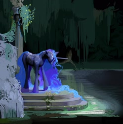Size: 2155x2160 | Tagged: safe, artist:yanisfucker, princess luna, unicorn, abstract background, alternate design, water, wingless