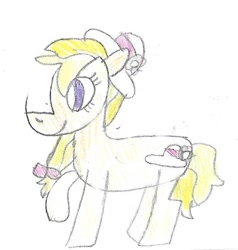 Size: 728x765 | Tagged: safe, artist:ptitemouette, oc, oc:tulip bloosom, magical lesbian spawn, offspring, parent:derpy hooves, parent:roseluck, parents:derpyluck