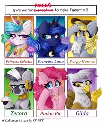 Size: 3000x3582 | Tagged: safe, artist:sk-ree, derpy hooves, gilda, pinkie pie, princess celestia, princess luna, zecora, griffon, pony, zebra, :p, bedroom eyes, blushing, bust, cheek squish, ear fluff, ear piercing, earring, ethereal mane, eyelashes, flashback potion, hat, hoof hold, hoof shoes, jewelry, mouth hold, neck rings, peytral, piercing, salute, scrunchy face, six fanarts, squishy cheeks, starry mane, tongue out