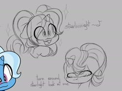 Size: 2112x1578 | Tagged: safe, artist:ryuyo, starlight glimmer, trixie, pony, unicorn, babysitter trixie, blushing, clothes, dialogue, female, hoodie, lesbian, pigtails, shipping, startrix, twintails