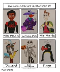 Size: 576x688 | Tagged: safe, artist:blackwolfstar15, discord, anthro, bird, draconequus, duck, human, penguin, six fanarts, bone, clothes, costume, crossover, dark skin, darkwing duck, halloween, hat, holiday, jack skellington, jack-o-lantern, male, miles morales, milo murphy, milo murphy's law, pingu, pumpkin, skeleton, spider-man: into the spider-verse, the nightmare before christmas, traditional art