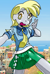 Size: 721x1079 | Tagged: safe, artist:adenyne, derpy hooves, equestria girls, clothes, female, necktie, open mouth, selfie, shirt, skirt, solo