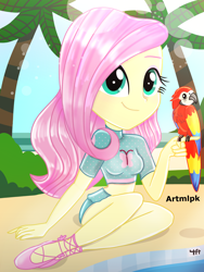 Size: 1536x2048 | Tagged: safe, artist:artmlpk, fluttershy, bird, parrot, equestria girls, adorable face, adorkable, beach, beautiful, clothes, cute, design, digital art, dork, female, looking at you, outfit, palm tree, sandals, shyabetes, smiling, smiling at you, solo, swimming pool, swimsuit, tree