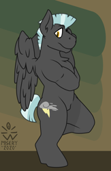 Size: 3900x5991 | Tagged: safe, artist:misery-beach, thunderlane, anthro, pegasus, male, muscles, solo, thighs, thunder thighs
