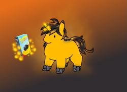 Size: 525x383 | Tagged: safe, artist:siegfriednox, oc, oc:blast door, pony, unicorn, black mane, black tail, blank flank, box, chonk, colt, cute, dot eyes, food, glowing horn, horn, mac and cheese, magic, male, no cutie marks yet, no mouth, orange, orange background, orange tail, simple background, solo, telekinesis, two toned mane, two toned tail, unicorn oc