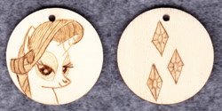 Size: 1014x507 | Tagged: safe, artist:malte279, rarity, craft, cutie mark, jewelry, pendant, pyrography, traditional art, wood