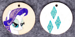 Size: 1014x507 | Tagged: safe, artist:malte279, rarity, craft, cutie mark, jewelry, pendant, traditional art, wood