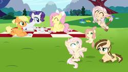 Size: 4808x2720 | Tagged: safe, artist:pancakeartyt, applejack, fluttershy, rarity, oc, oc:apple sugar, oc:damian, oc:little paw, oc:melting butterfly, hybrid, pony, baby, baby pony, female, offspring, parent:applejack, parent:bulk biceps, parent:caramel, parent:fluttershy, parents:carajack, parents:flutterbulk, picnic blanket, prone