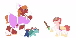 Size: 1280x640 | Tagged: safe, artist:itstechtock, big macintosh, oc, oc:cherry blossom, pony, unicorn, clothes, crossdressing, dress, female, filly, magic, offspring, parent:big macintosh, parent:sugar belle, parents:sugarmac, plushie, simple background, white background, wooden sword