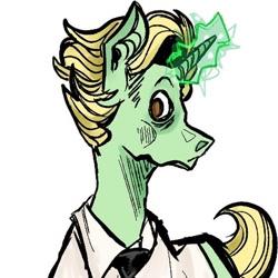 Size: 588x588   Tagged: safe, artist:phoneyogurt, oc, pony, unicorn, bust, clothes, glowing horn, horn, simple background, solo, unicorn oc, white background