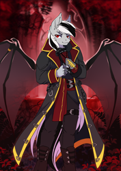 Size: 2480x3508 | Tagged: safe, artist:arctic-fox, oc, oc only, oc:stormdancer, anthro, bat pony, vampire, vampony, anthro oc, assassin's creed, badass, bat pony oc, bat wings, black, blood moon, clothes, full moon, goth, gothic, high res, jewelry, male, metal claws, moon, red eyes, solo, stallion, wing ring, wings