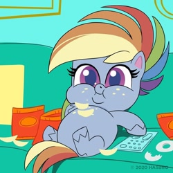 Size: 1080x1080 | Tagged: safe, screencap, rainbow dash, pony, my little pony: pony life, belly, big belly, chips, chubby cheeks, comments more entertaining, couch, couch potato, crumbs, double chin, fat, female, food, mare, missing cutie mark, official, on back, part of a set, rainblob dash, remote, sitting, solo, tubby wubby pony waifu