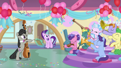 Size: 1920x1080 | Tagged: safe, screencap, berry blend, berry bliss, huckleberry, november rain, octavia melody, silverstream, starlight glimmer, earth pony, hippogriff, pegasus, pony, unicorn, a horse shoe-in, balloon, confetti, female, friendship student, levitation, magic, male, mare, musical instrument, saxophone, stallion, telekinesis, trombone, trumpet, violin