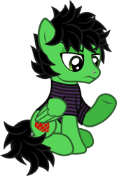 Size: 892x1339 | Tagged: safe, artist:lightningbolt, derpibooru exclusive, pegasus, pony, .svg available, annoyed, billie joe armstrong, clothes, eyeliner, folded wings, green day, looking down, makeup, male, nose piercing, piercing, ponified, raised hoof, shirt, simple background, sitting, solo, stallion, striped shirt, svg, t-shirt, transparent background, underhoof, vector, wings
