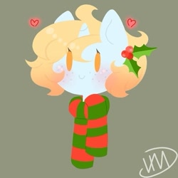 Size: 525x525 | Tagged: safe, artist:irinamar, oc, oc only, pony, unicorn, bust, clothes, gray background, heart, holly, horn, scarf, signature, simple background, smiling, solo, unicorn oc