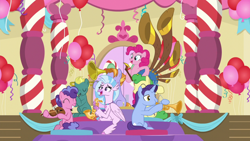 Size: 1920x1080 | Tagged: safe, screencap, berry blend, berry bliss, huckleberry, november rain, pinkie pie, silverstream, earth pony, hippogriff, pegasus, pony, unicorn, a horse shoe-in, balloon, eyes closed, female, friendship student, male, mare, musical instrument, saxophone, stallion, trombone, trumpet, violin, yovidaphone